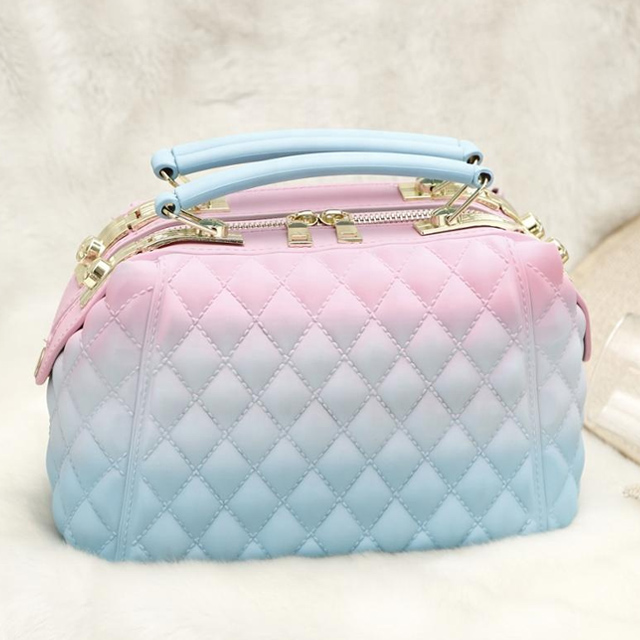 Hot sale pvc crossbody rainbow jelly ladies tote bag handbags for women luxury 2020 frosted diagonal package